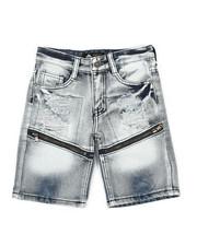 Boys - Zip Trim Ripped Denim Shorts (4-7)-2341982