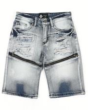Sizes 8-20 - Big Kids - Zip Trim Ripped Denim Shorts (8-20)-2341975