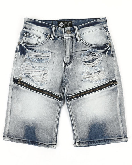 Arcade Styles - Zip Trim Ripped Denim Shorts (8-20)