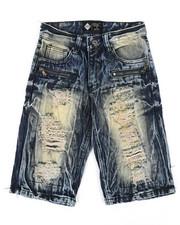 Shorts - Zip Trim Ripped Denim Shorts (8-20)-2342028