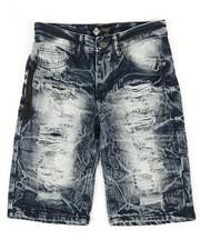 Shorts - Zip Trim Ripped Denim Shorts (8-20)-2342001