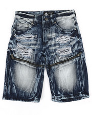 Sizes 8-20 - Big Kids - Zip Trim Ripped Denim Shorts (8-20)-2341994