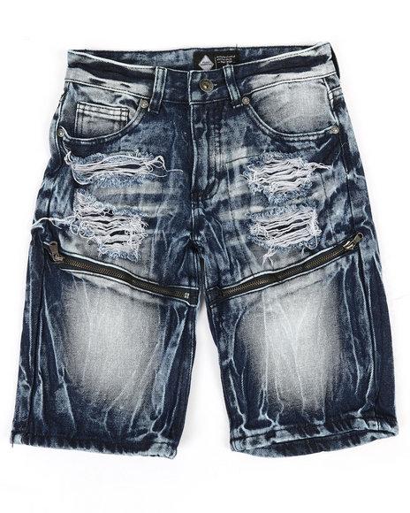 Arcade Styles - Zip Trim Ripped Denim Shorts (8-20)