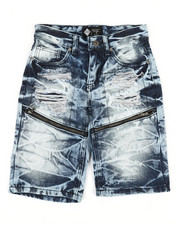 Shorts - Zip Trim Ripped Denim Shorts (8-20)-2341987