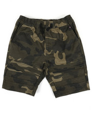 Sizes 8-20 - Big Kids - Camo Print Moto Shorts (8-20)-2337422