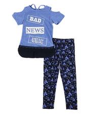 Sizes 4-6x - Kids - Marled Hacci Cold Shoulder Top & Leggings Set (4-6X)-2336155