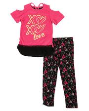 Sizes 4-6x - Kids - Marled Hacci Cold Shoulder Top & Leggings Set (4-6X)-2336159