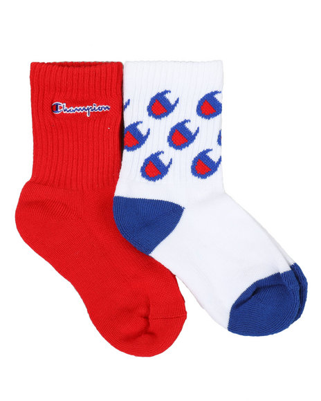 Champion - 2 Pack C Logo All Over Print Crew Socks (10C-3Y)