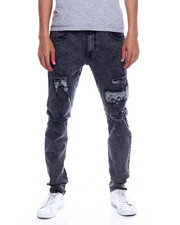 SMOKE RISE - STRETCH JEANS WITH RIP AND REPAIR BANDANA UNDER PATCHES-2347881