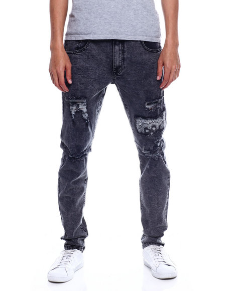 SMOKE RISE - STRETCH JEANS WITH RIP AND REPAIR BANDANA UNDER PATCHES