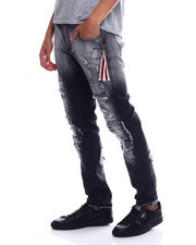 Men - CHECKERBOARD PATCH RIPPED JEAN-2348128