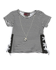 La Galleria - Stripe Top W/ Tape Lacing & Necklace Set (4-6X)-2337958