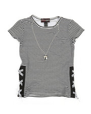 Girls - Stripe Top W/ Tape Lacing & Necklace Set (7-16)-2338195