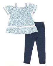 Girls - Printed Chambray & Leggings Set (2T-4T)-2345905