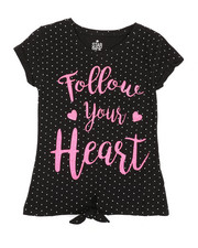 Girls - Polka Dot Print Top w/ Tie Front (7-16)-2349689