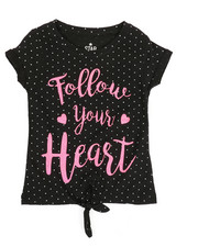 Girls - Polka Dot Print Top w/ Tie Front (4-6X)-2349685