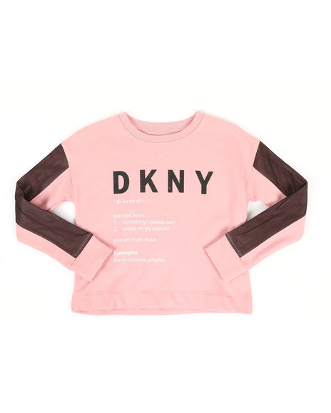 DKNY Jeans - Cropped Drop Shoulder Sweatshirt W/ Mesh Detailing (7-16)