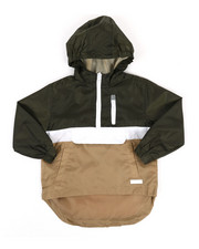 Boys - Pullover Color Block Rain Shell Anorak Jacket (4-7)-2349430