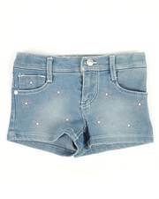 Girls - Denim Shorts W/Flower Studs (2T-4T)-2353375