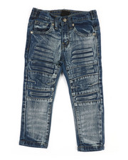Boys - 3D Embossed Biker Denim Jeans (2T-4T)-2353068