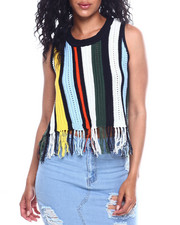 Tops - Vertical Texture Stripe Fringe Hem Top-2348528