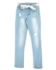 Girls - Jeans W/Grommets & Scarf Belt (7-16)-2353262