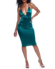 Women - S/L Deep V NK Satin Dress-2354097
