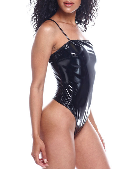 Fashion Lab - Spagh Strap Vinyl Bodysuit