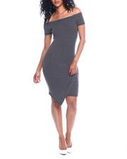 Women - Stripe Off Shoulder Envelope Hem Dress-2354068