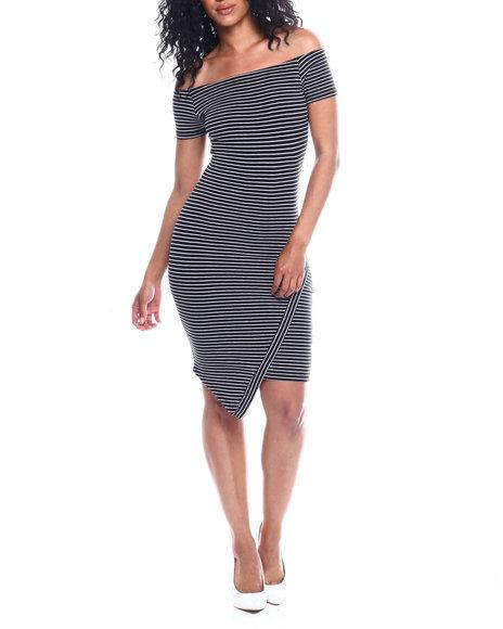 Fashion Lab - Stripe Off Shoulder Envelope Hem Dress