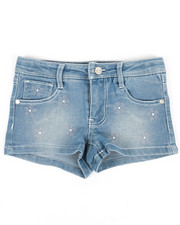 Girls - Denim Shorts W/Flower Studs (4-6X)-2353358