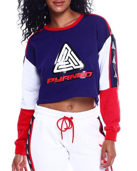 Black Pyramid - Color Block Logo Cropped Sweatshirt