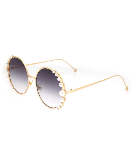 Fashion Lab - Round Pearl Trimmed Sunglasses