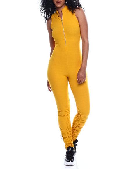 Fashion Lab - S/L Half Zip Mock Neck Ruched Leg Jumpsuit