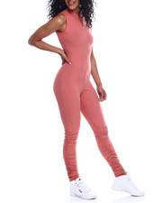 Fashion Lab - S/L Half Zip Mock Neck Ruched Leg Jumpsuit-2353974
