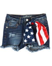 Girls - Denim Shorts W/Americana Embroidery & Scarf (4-6X)-2353239