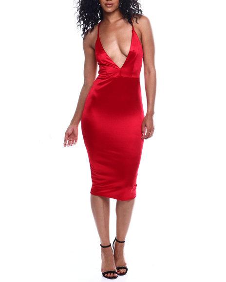 Fashion Lab - S/L Deep V NK Satin Dress