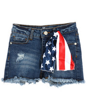 Girls - Denim Shorts W/Americana Embroidery & Scarf (7-16)-2353232