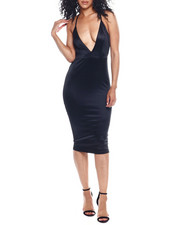 Dresses - S/L Deep V NK Satin Dress-2354149