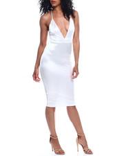 Dresses - S/L Deep V NK Satin Dress-2354162