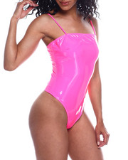 Fashion Lab - Spagh Strap Vinyl Bodysuit-2354060