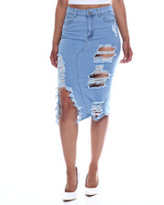 Fashion Lab - Heavy Destructed Ripped Slit Denim Midi Skirt-2352986