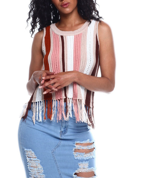 Almost Famous - Vertical Texture Stripe Fringe Hem Top