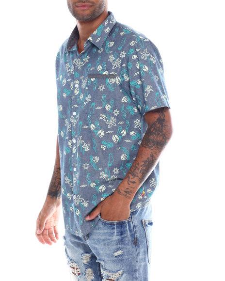 Union Bay - Frankie Chambray Leo Palm Print SS Woven Shirt