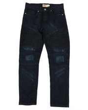 SMITH'S AMERICAN - Indigo Moto Denim Jeans w/ Pintuck Detail (8-20)-2355168