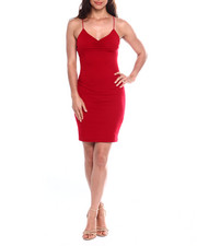 Women - Poly Spandex Knit Elastic Cord Tank Dress W/Smock Front-2355200