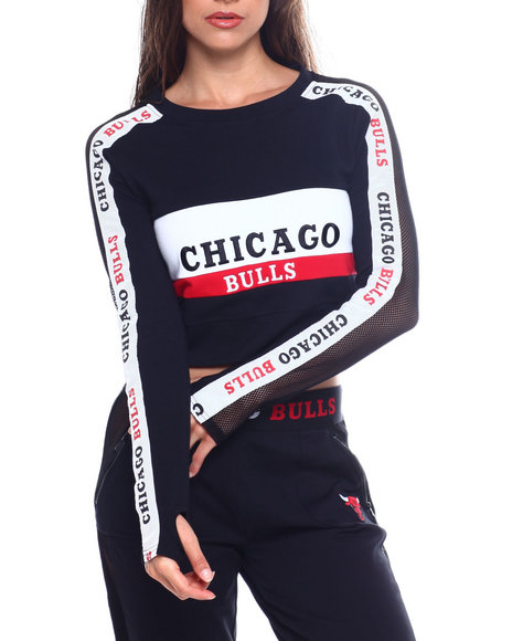 NBA MLB NFL Gear - Bulls French Terry Cropped Sweater Top W/Thumb Holes