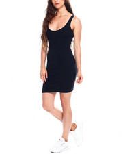 Women - Poly Spandex Rib V-Neck Tank Body Con Dress-2355215