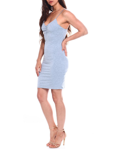 Fashion Lab - Poly Spandex Knit Elastic Cord Tank Dress W/Smock Front