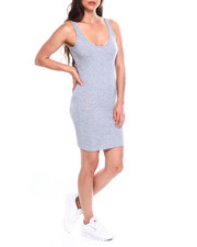 Women - Poly Spandex Rib V-Neck Tank Body Con Dress-2355234